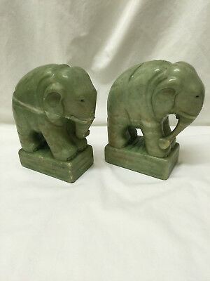 Heavy Carved Vintage Green Stone Elephant Bookends