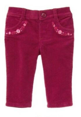 Gymboree NWT Woodland Tail Baby Girls Dark Pink Corduroy Embroidered Pants 0-3 M