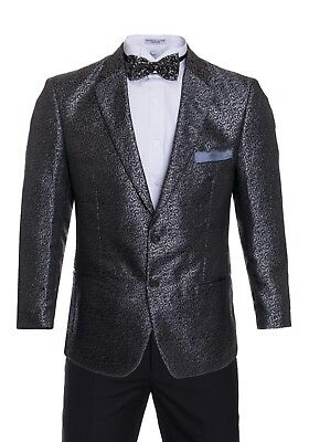 Premium Tuxedo Blazers- Black with Silver Shiny Regular Fit Dinner Jackets
