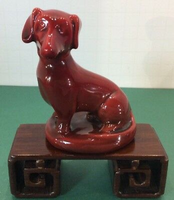 Vintage Zsolnay Dachshund Dog Figurine Red Eosin Hungary