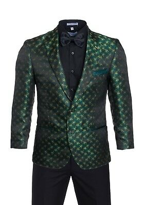Premium Tuxedo Blazers- Green with Yellow Regular Fit Dinner Jackets