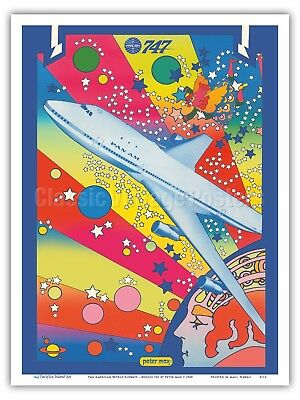 Pan American Boeing 747 - Pop Art Peter Max 1969 Vintage Travel Poster Print