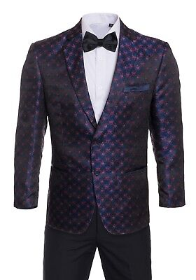 Premium Tuxedo Blazers- Navy with Red Regular Fit Dinner Jackets