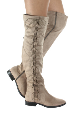 Knee High Sueded Boots Women Swift-2017-52 Anna Footwear Taupe