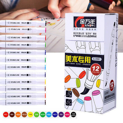 12 Colors Art Graphic Drawing Twin Tip Brush Sketch Watercolor Marker Pen Set SG