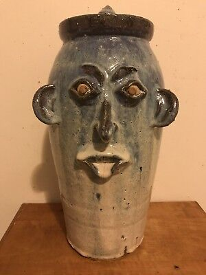 "Traditional Catawba Valley 15"" Tall Face Storage Jar Blue Glaze By Gary Mitchell"