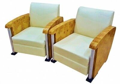 In 8 weeks Pair Armchairs Art Deco style Maple chrome