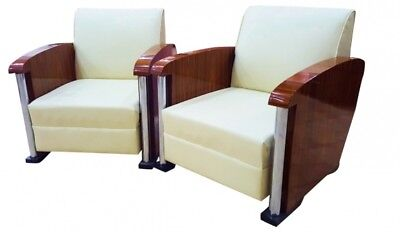 In 8 weeks Pair Armchairs Art Deco style walnut chrome