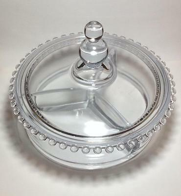 Imperial candlewick glass  Stem 3400 3 part covered candy dish
