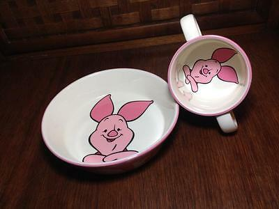 Walt Disney Piglet  Ceramic child's cup and bowl  Made by Royal Doulton