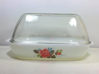 Jaj Pyrex Cottage Rose baking pan roaster made in England Dome lid