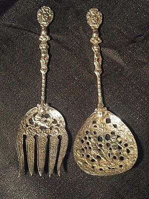 Vintage Bellini Italian Silverplate Serving Spoon & Fork - Ornate Cherubs Putti