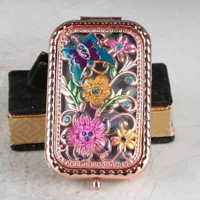Exquisite Chinese Cloisonne Handmade Butterfly&Flowers Pattern Mirror JZ2012