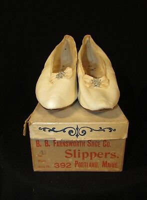 Edwardian Kid Leather Slippers With Original Box, Silk Bows, Portland, Me, Store