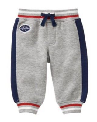 New Gymboree Gray Pull-On All Star Sweat Pants NWT Precious Prep Football  0-3 M