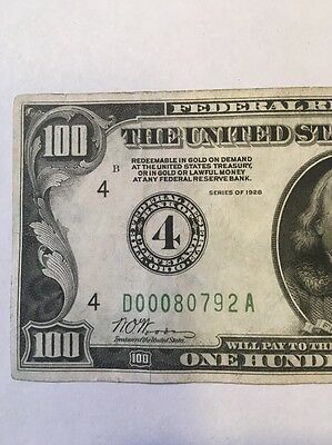 1928 $100 Numerical 4 Low Serial # CLEVLAND DISTRICT BOLD INK