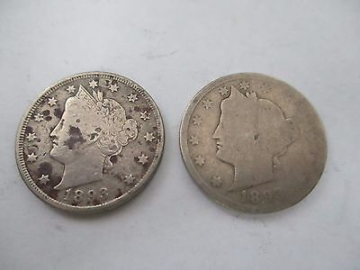 "Two 1893 Liberty ""v"" Nickels"