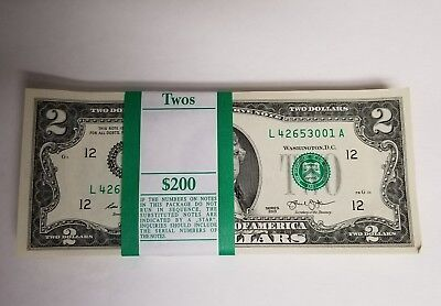 100 New  Uncirculated Two Dollar Bill, Crisp $2 Note from BEP Pack