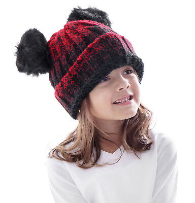 Kids Girls Boys Cute Double Pom Pom Ear Beanie Thick Warm Winter Ski Hat Cap