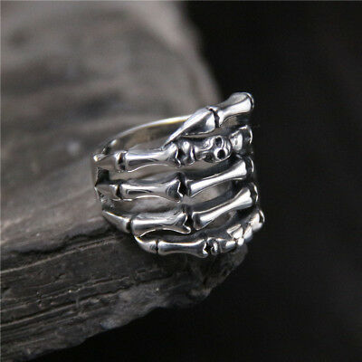 Gothic Antique 925 Sterling Silver Skeleton Fingers Skull Bone Biker Wrap Ring