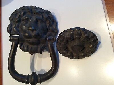 Door knocker cast iron lion's head, 6'' long, 4''wide nice design vintage