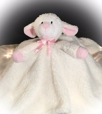 "PICCOLO BAMBINO Baby Girl Security Blanket White Lamb Pink Ears and Nose 17""x17"""