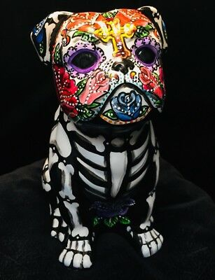 Colorful Day of the Dead Sugar Skull Bull Dog Statue Pet Urn Bully Hand Painted