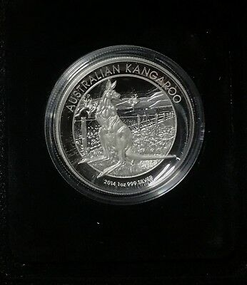 2014 $1 Kangaroo High Relief 1oz Silver Proof Display Case & COA Perth Mint