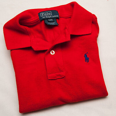 POLO Ralph Lauren toddler Boy RED polo Blue pony Logo Shirt 2/2T excellent child