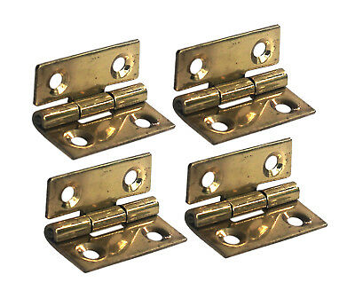 Tiny 1 inch Solid Brass Hinges for Small Cabinets and Miniature Woodworking 4pcs
