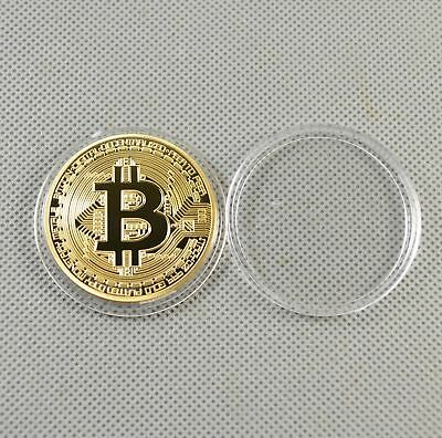1x Gold Plated Commemorative Bitcoin Collectible Golden Iron Miner Coins Gift
