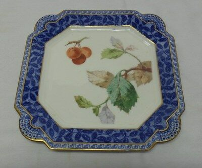 Antique Aesthetic Square Plate Painted Cherries Leaves Blue Gold Border England
