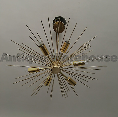 Mid Century Solid Brass 6 Arms Sputnik Chandelier Ceiling Lights Fixture Lamp