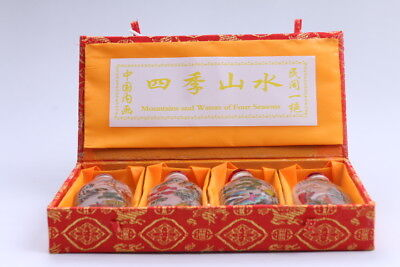 4pc Chinese a bottle with painted designs Glazed snuff bottle  bb89