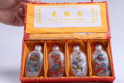 4pc Chinese a bottle with painted designs Glazed snuff bottle  bb92