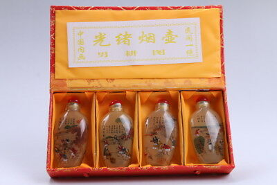 4pc Chinese a bottle with painted designs Glazed snuff bottle  bb93