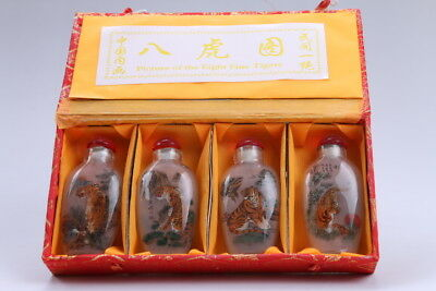 4pc Chinese a bottle with painted designs Glazed snuff bottle  bb98