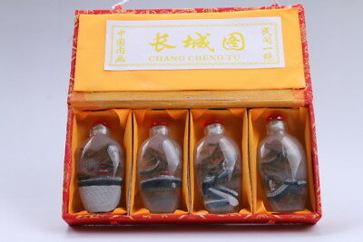 4pc Chinese a bottle with painted designs Glazed snuff bottle  bb100