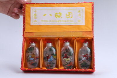 4pc Chinese a bottle with painted designs Glazed snuff bottle  bb101