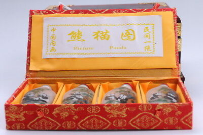 4pc Chinese a bottle with painted designs Glazed snuff bottle  bb103