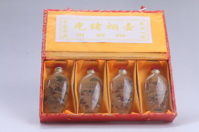 4pc Chinese a bottle with painted designs Glazed snuff bottle  bb605