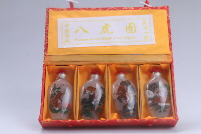 4pc Chinese a bottle with painted designs Glazed snuff bottle  bb606