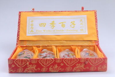 4pc Chinese a bottle with painted designs Glazed snuff bottle  bb608