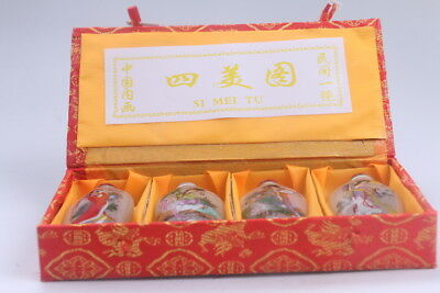 4pc Chinese a bottle with painted designs Glazed snuff bottle  bb610