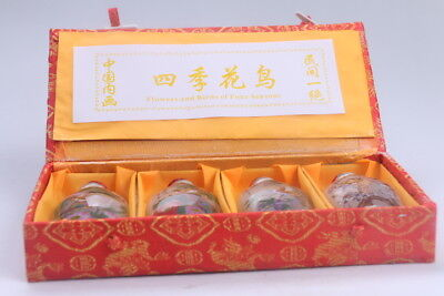 4pc Chinese a bottle with painted designs Glazed snuff bottle  bb611