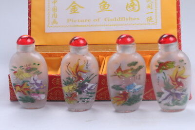 4pc Chinese a bottle with painted designs Glazed snuff bottle  bb612