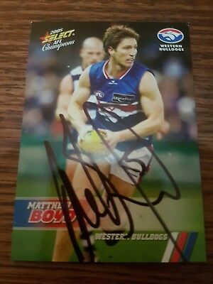Signed Matthew Boyd Western Bulldogs Select 2008 Afl Card With Coa