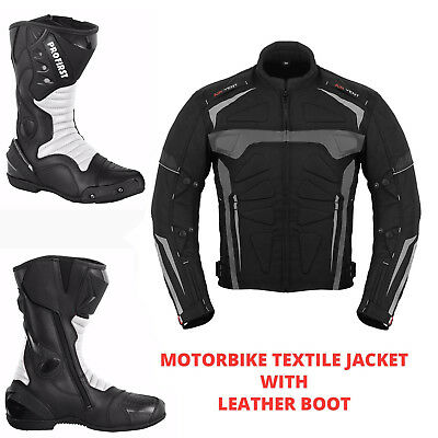 New Motorcycle Motorbike Waterproof Armoured Jacket Leather Racing Boot Shoes