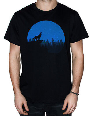 T-Shirt for men - Dark blue wolf silhouette (Colors and sizes available)