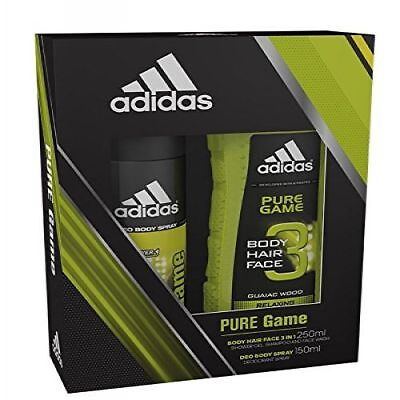 Mens Shower Gel Gift Set Body Spray Duo Active Man Adidas Pure Game Fragrance